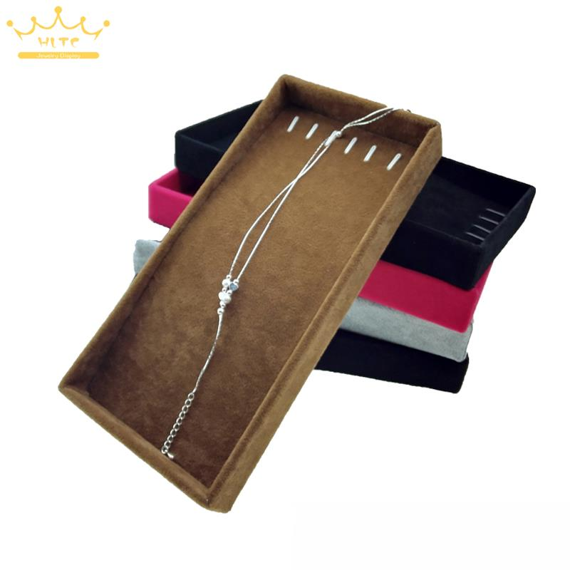 Free Shipping Portable Velvet Jewelry Necklace Display Tray for Pendant Chain Storage Box 11*22cm Jewellery Colliers Organizer