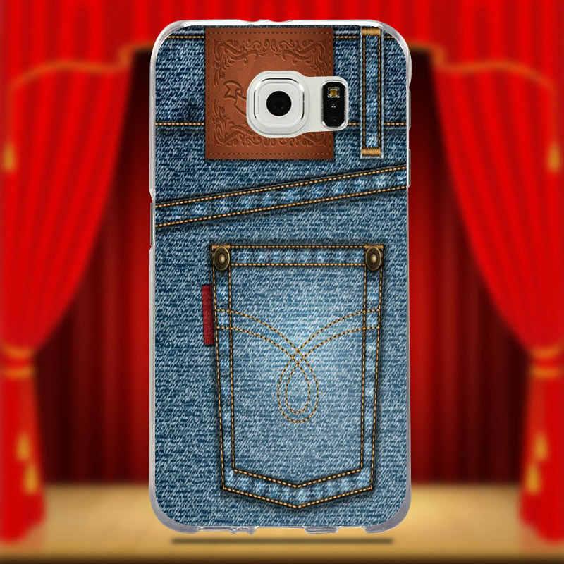 Pour Samsung Galaxy S9 S8 Plus S5 S6 S7 bord Transparent souple Silicone téléphone portable Caess couverture coque mode bleu jean Denim