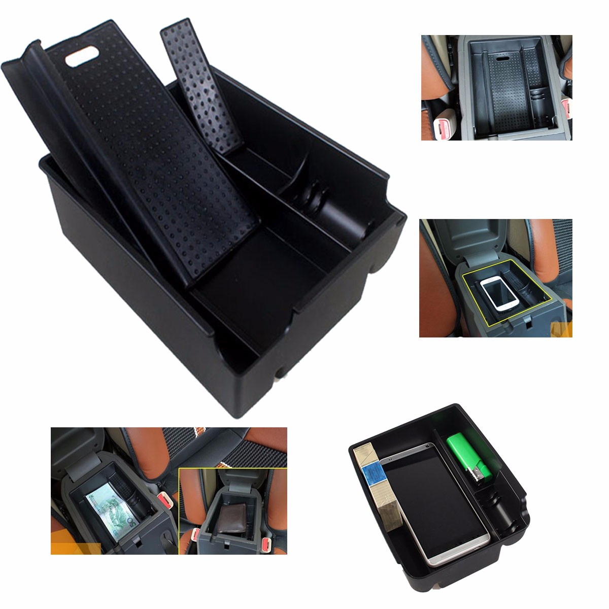 NEW Car Central Armrest Storage Box Container Glove Organizer Case With Mat For HYUNDAI IX 35 TUCSON