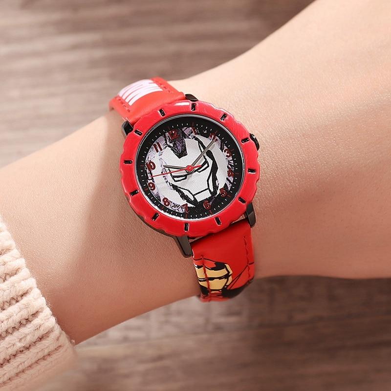 Супер герой дети часы мягкий полиуретан ремешок кварц железо человек красный черный часы дети мода часы мальчик день рождения подарок наручные часы подросток