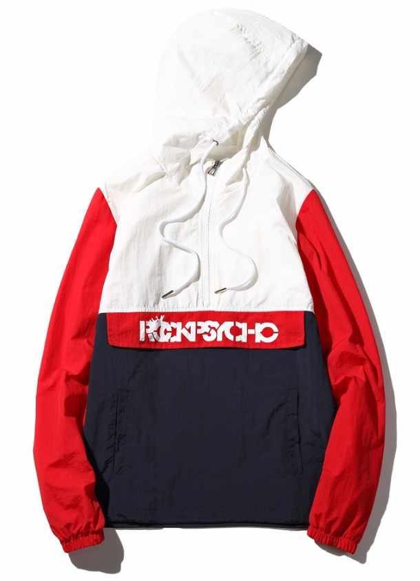 2019 anorak jas windjack mannen jaqueta masculina patchwork jassen hip hop bomberjack