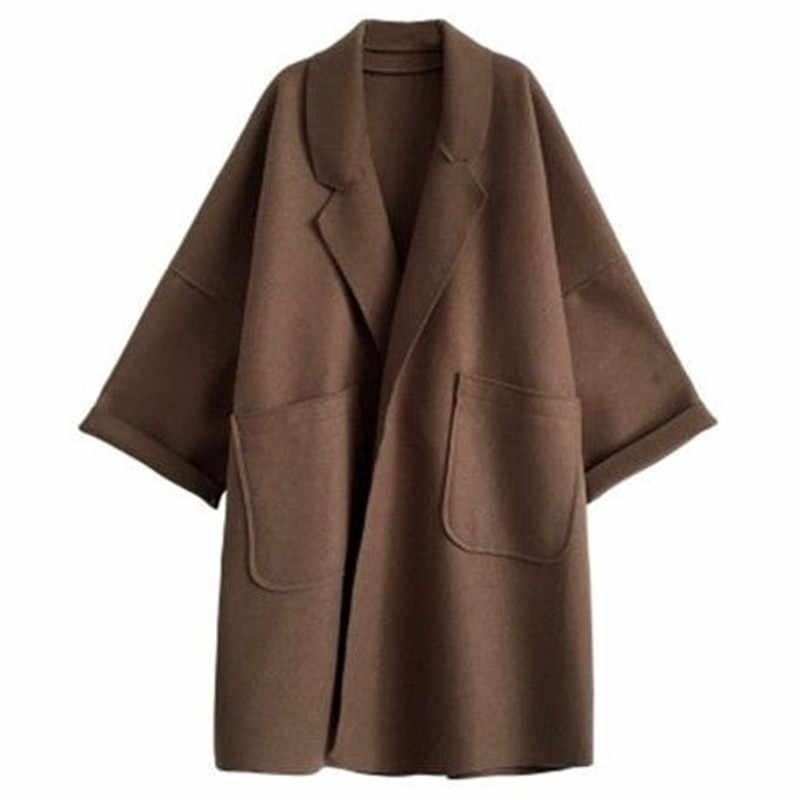 Kış yün ceket kadın artı boyutu kore uzun ceket sıcak siyah siper ceket zarif yün ceket kaşmir Vintage hırka ceket pelerin