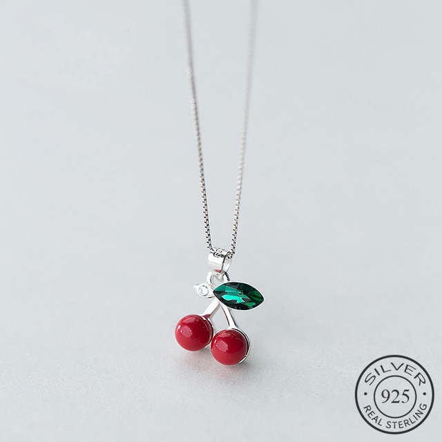 Trendy Real 925 Sterling Silver Pendant Necklace Green Crystal Red Imitation Pearl Cherry Box Metal Chain For Women Gift