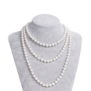 HOWAWAY Art Deco Fashion Faux Pearls Necklace 1920s Flapper Beads Cluster Long Pearl Necklace for Gats150cm long pearl necklace(China)
