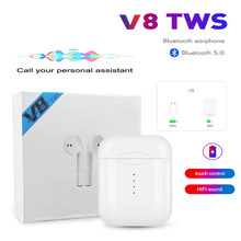 2020 New V8 TWS Bluetooth 5.0 Wireless Earphones Earpieces Touch Mini Earbuds With Mic For iPhone 6S X 7 8 Samsung Xiaomi(China)