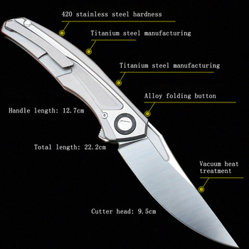 Titanium alloy folding knife S35V survival knife self-defense knife survival tool 4