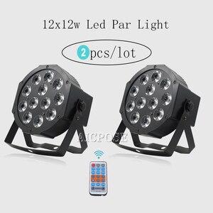 2 шт./лот 12x12 Вт led Par с пультом дистанционного управления 12 шт. 12 Вт светодиодные лампы RGBW 4в1 плоский Par Led DMX512 дискотечный светильник профессио...