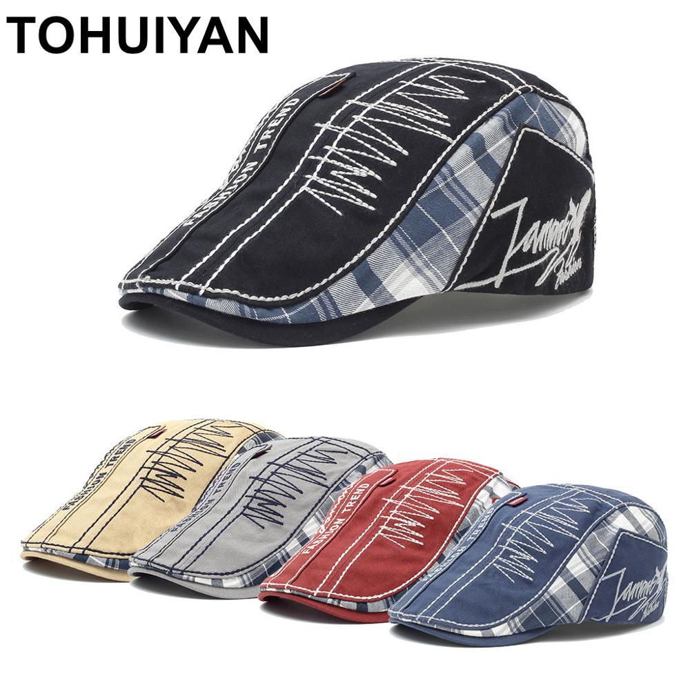 TOHUIYAN Vintage Cotton Newsboy Cap Spring Summer Man Hat Plaid Newsboy Hats Boina Gorras Planas Cabbie Hat Flat Caps For Men