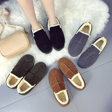 Discount Women Boots Flock Snow Boots Winter Round Top Flats Shoes Woman Faux Suede Slim Boots Low Cut Plus Velvet To Keep Warm winter boots women ankle flock snow boots flats fur shoes woman fashion casual zip round toe non slip plus velvet to keep warm