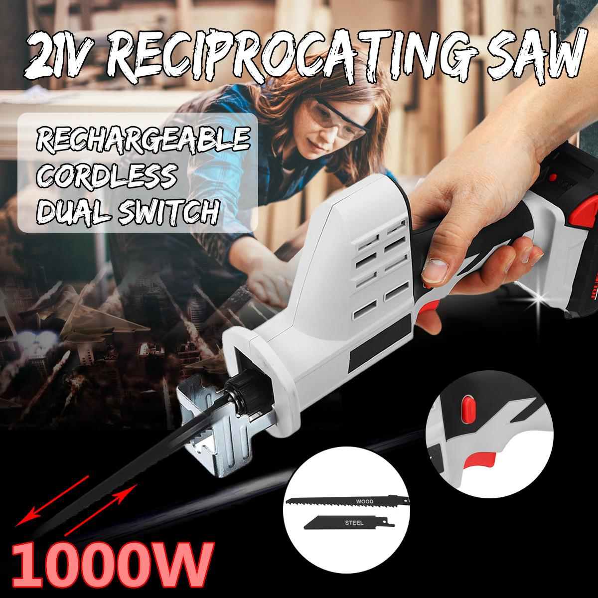 21V 1000W Electric Reciprocating Saw with Saw Blades Portable Charging Cordless Chainsaw for Wood DIY Electric Power Tools