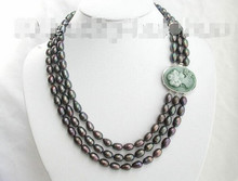 915 +++ natural peacock black pearls necklace cameo(China)