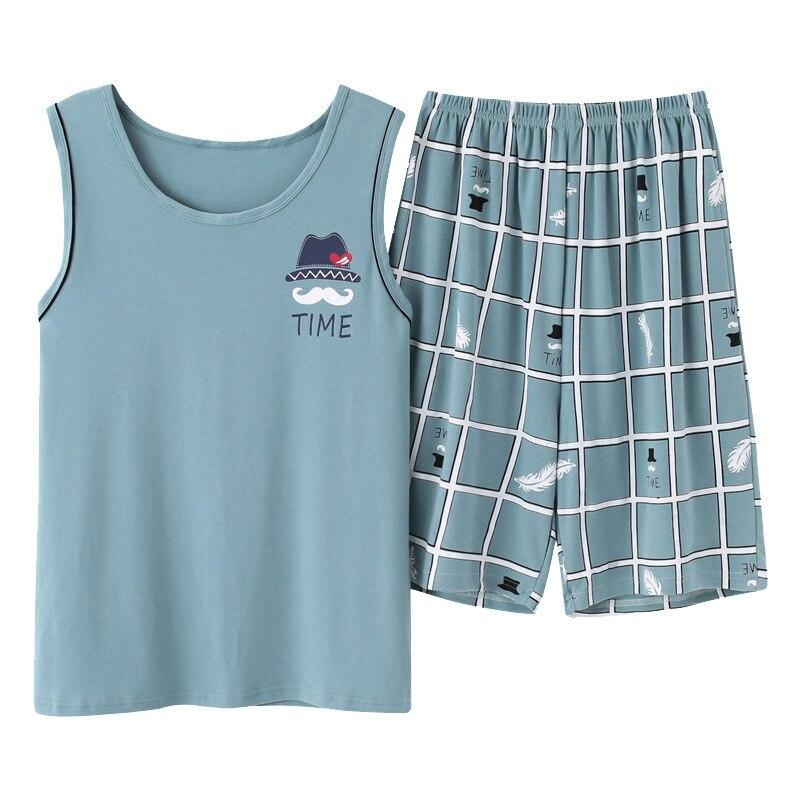 Пижама мужская новые летние хлопка жилет мужской пижамы мультфильм повседневная плюс размер L-размер 3XL пижамы домашняя одежда пижамы Мужские сна топы