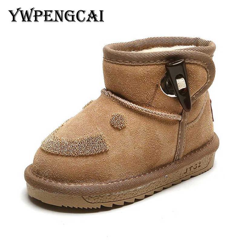 Gülümseme yüz çocuk kış ayakkabı yürümeye başlayan çocuk botları hakiki deri çocuk kar botları Unisex erkek kız sıcak kalın peluş kürk botları