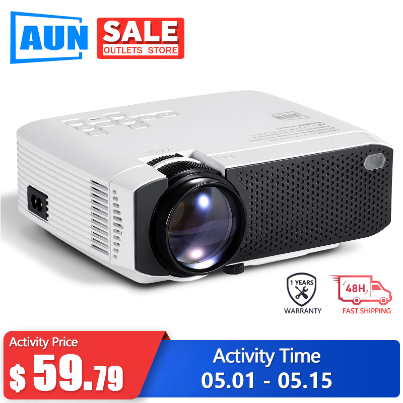 AUN 2020 New D50s Mini Projector Portable Home Cinema For 1080P LED Projector 2900 Lumens   HD In 3D Video Movie Games Beamer