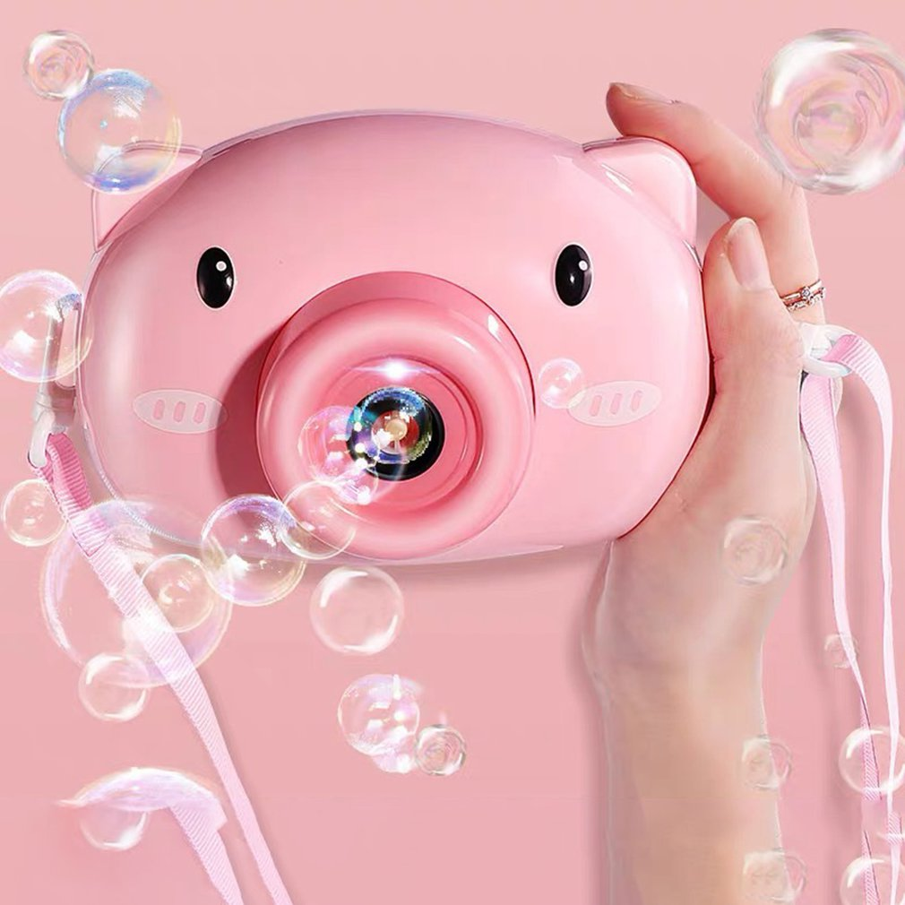 Cute Cartoon Pig Camera Kids Baby Bubble Machine Outdoor Automatic Bubble Maker Gift For Girlfriend Bath Toy For Children