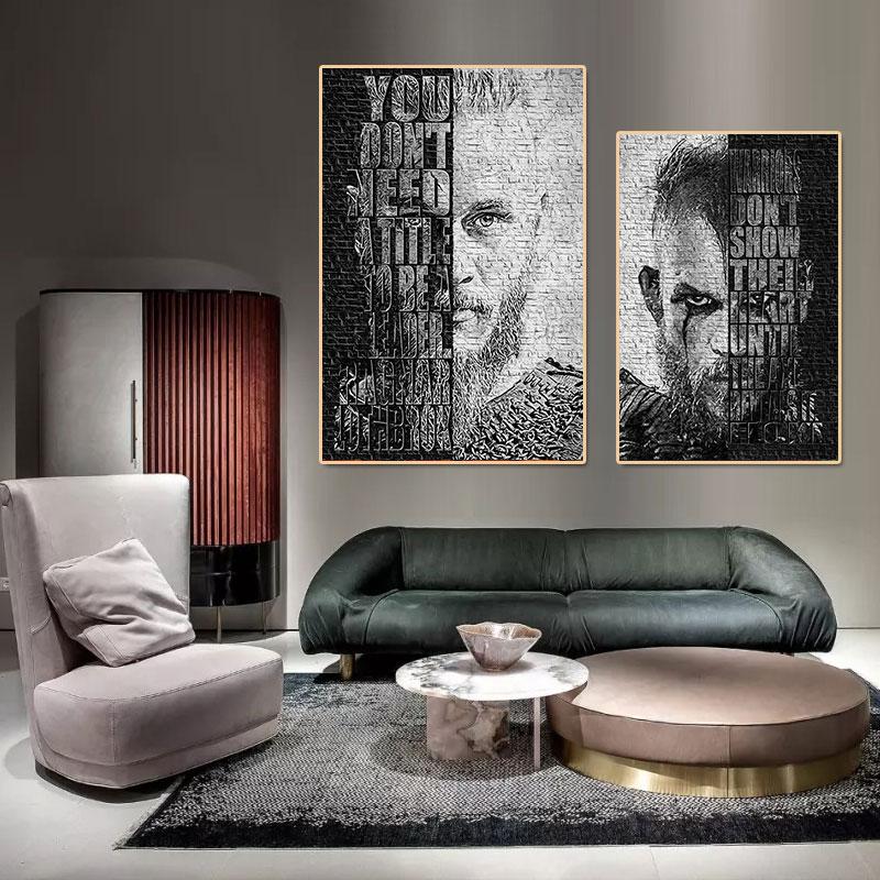 Чехол с рисунком Ragnar Лодброк картины викингов Абстрактная живопись холст Картина маслом постер современного искусства стены в домашний де...
