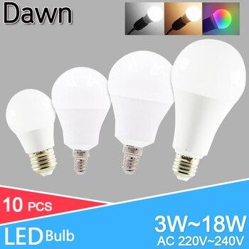 10pcs/lot LED Bulb Dimmable Lamps E27 E14 Real Power 20W 18W 15W 12W 9W 5W 3W 220V 240V Light Bulb Smart IC Lampada LED Bombilla