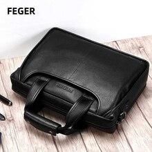 Men bag Mens genuine leather bag male shoulder bag men laptop Business Brand Handbag Crossbody Bag with shoulder starp black