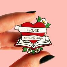 Feminisme Proza Voordat Bros Hartvormige Emaille Broche Pins Badge Reversspeldjes Legering Metalen Mode-sieraden Accessoires Geschenken
