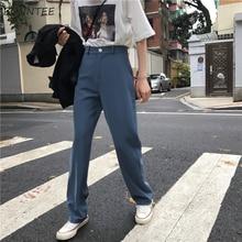 Pantalones de estilo Retro para mujer, pantalón femenino elegante de estilo casual, Color liso, con bolsillos y botón señora, estilo coreano
