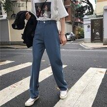 Pantolon Kadın Retro Yüksek Waost Düz Renk Eğlence Pantolon Bahar Bayan Kore Kapriler Zarif Tüm Maç Pantolon Bayanlar Düğme Cep