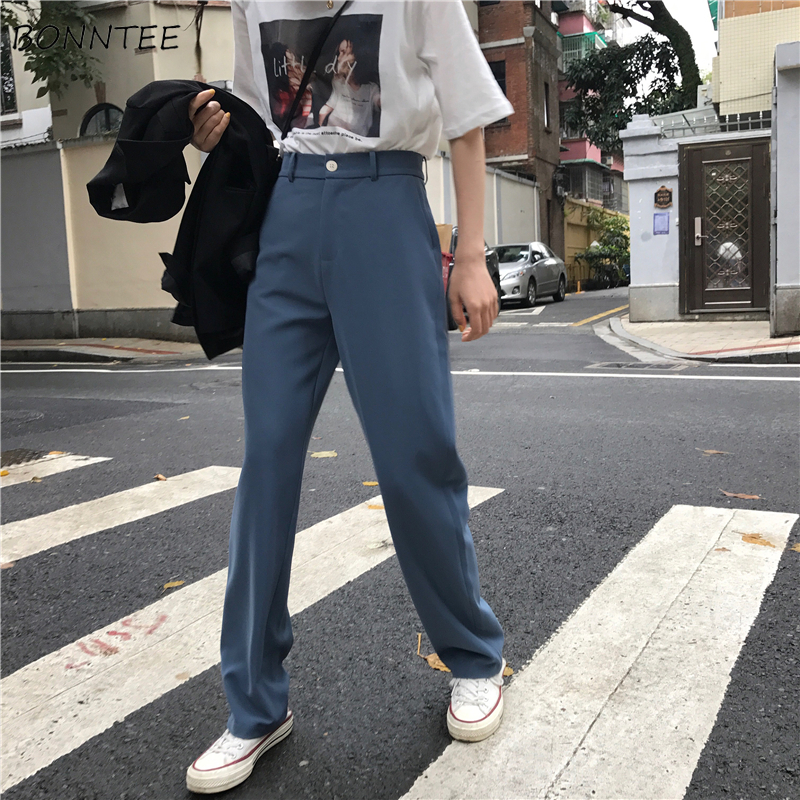 Pants Women Retro High Waost Solid Color Leisure Pant Spring Womens Korean Capris Elegant All-match Trouser Ladies Button Pocket