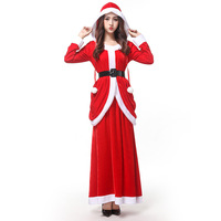 Christmas Costume Adult Women's Dress Sexy Long Skirt Party Party Costume Santa Claus Dress Long Sleeve Dress Women