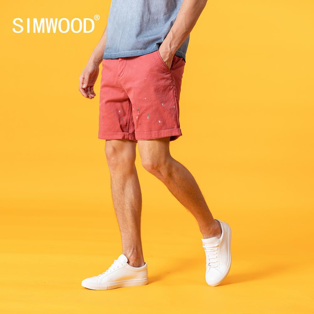 Simwood 2020 verão novos shorts men paint-splattered curto vintage moda plus size hip hop streetwear roupas de marca sj170184