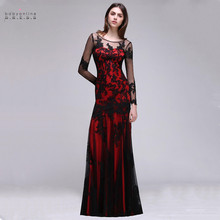 24 Hours Shipping Black Lace Red Mermaid Long Evening Dresses Sexy Illusion Tulle Sleeve Party