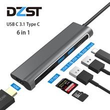 "DZLST USB רכזת סוג C כדי USB 3.0 HDMI כרטיס קורא פ""ד טעינה עבור MacBook Samsung Galaxy S9/S8 huawei P20 Pro Thunderbolt 3 רכזת"