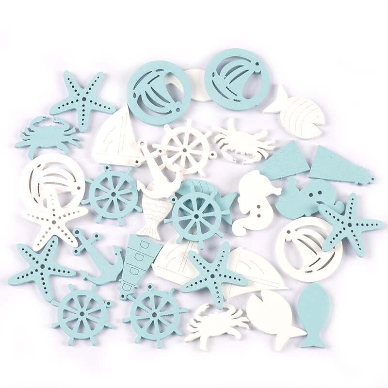 Смешанные синие/белые деревянные Ломтики для самостоятельного декора, натуральные деревянные ремесла, 20 шт. M2211