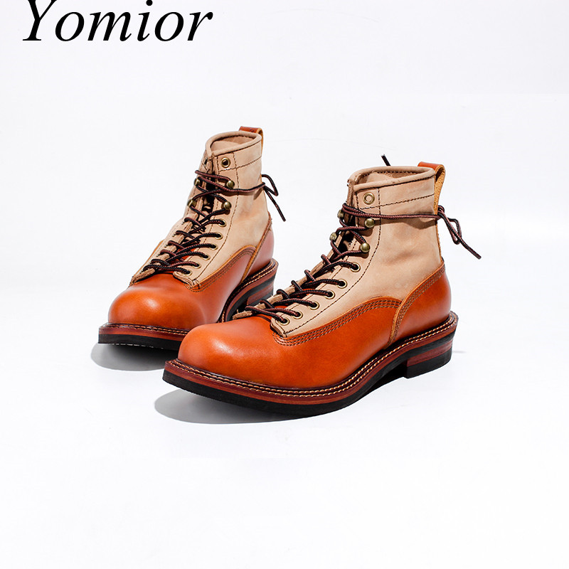Men Spring Winter Casual Shoes Round Toe Genuine Leather Work Ankle Boots Goodyear-Welted Vintage Military Motorcycle Boots New