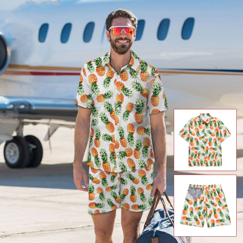 Casual Suit Men's Hawaiian Beach Summer Sets Fruit Pineapple Print Hawaiian Style Shirt + Elastic Shorts Vacation Two Piece