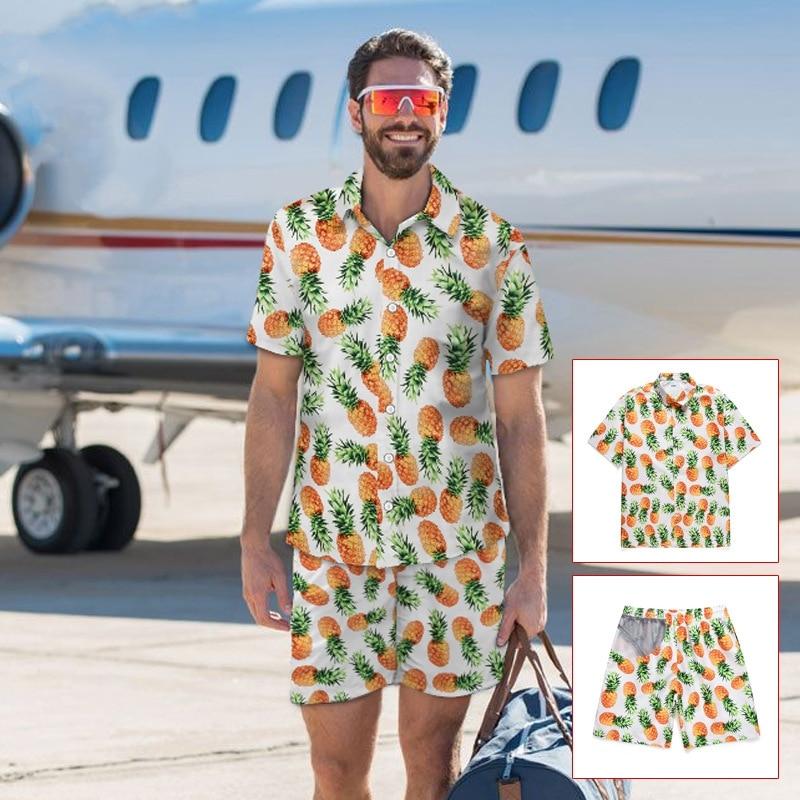 Casual Suit Men's Hawaiian Beach Summer Sets Fruit Pineapple Print Hawaiian Style Shirt + Elastic Shorts Vacation Two Piece