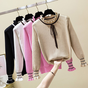 Bow Knitted Pullovers Autumn Winter Women Sweater Jumper Pullover Sleeve Long 2020 High Elasticity Fall Sweater Women Pullover bow knitted pullovers autumn winter women sweater jumper pullover sleeve long 2020 high elasticity fall sweater women pullover