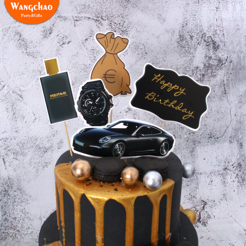 5pcs Rich Dream Money Car Theme Cake Topper Adult Happy Birthday Birthday Party Supplies Cake Decorating  Wedding Cake Topper-in Cake Decorating Supplies from Home & Garden