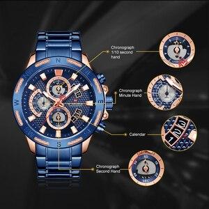 Image 5 - NAVIFORCE montres pour hommes, à Quartz, étanche, en acier inoxydable, chronographe, horloge militaire