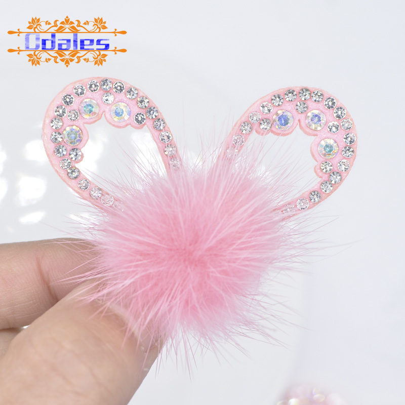 6Pcs/lots Bling Rhinestone Pink Rabbit Ear with Mink Fur Ball Applique Patches Stick-on Baby Girls Garment Headwear Accessory