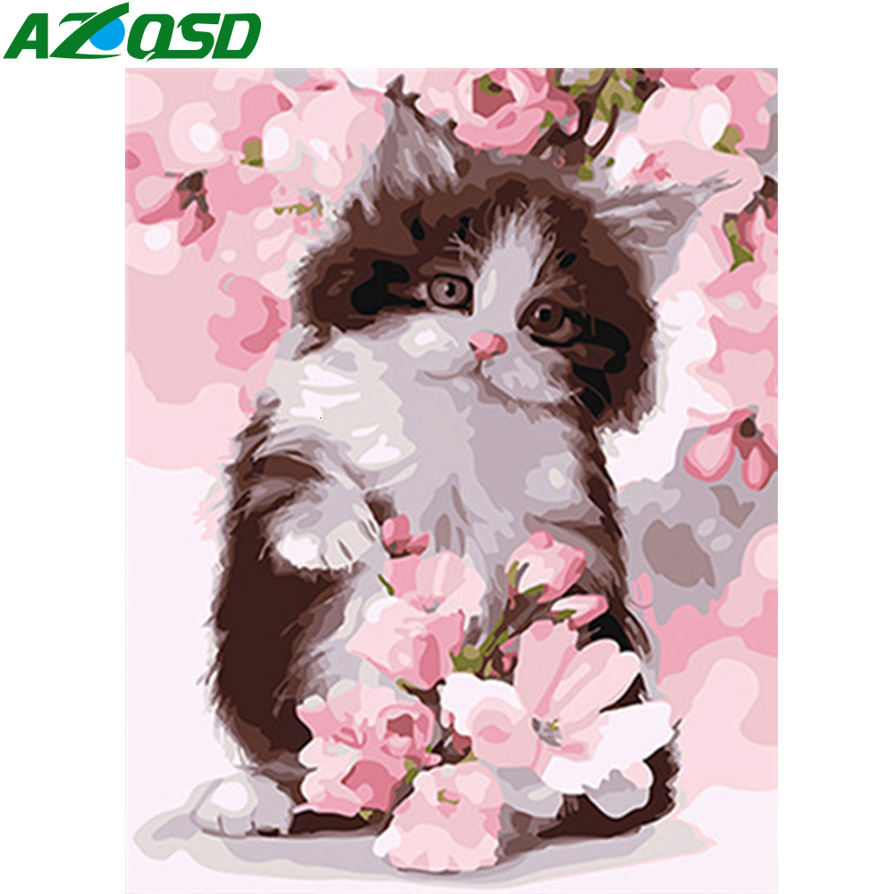AZQSD DIY Unframe Paint By Numbers Cat Wall Art Acrylic Paint Oil Painting By Numbers Animal On Canvas Handmade Gift