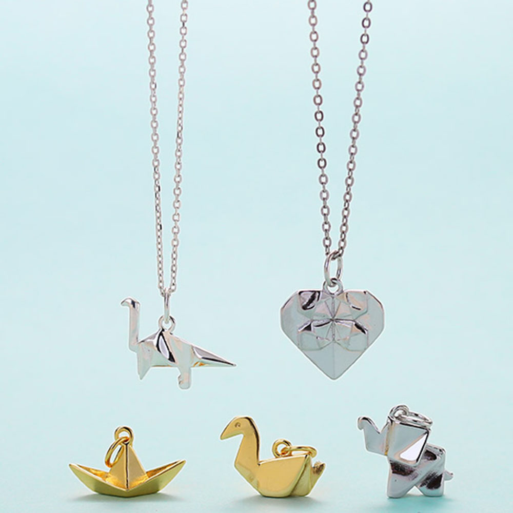 925 Silver Origami Folding Heart Necklace Paper Boat Duck Necklace Dinosaur Elephant  For Kids Girls Women Funny Necklace