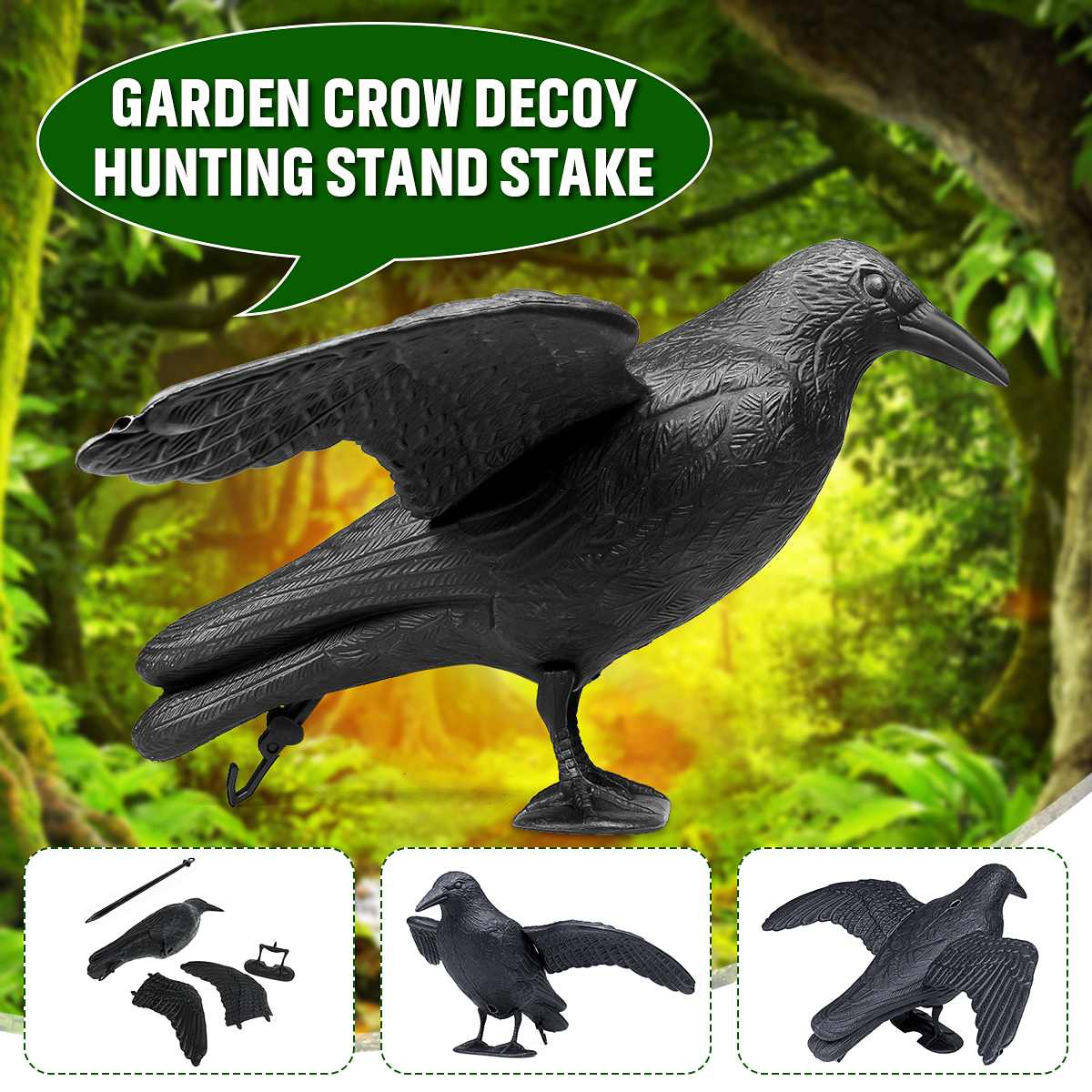 3D Outdoor Plastic Crow Decoy Hunting Body Stand Crow Hunting Lure Attracting Prey Bird Shooting Decoy