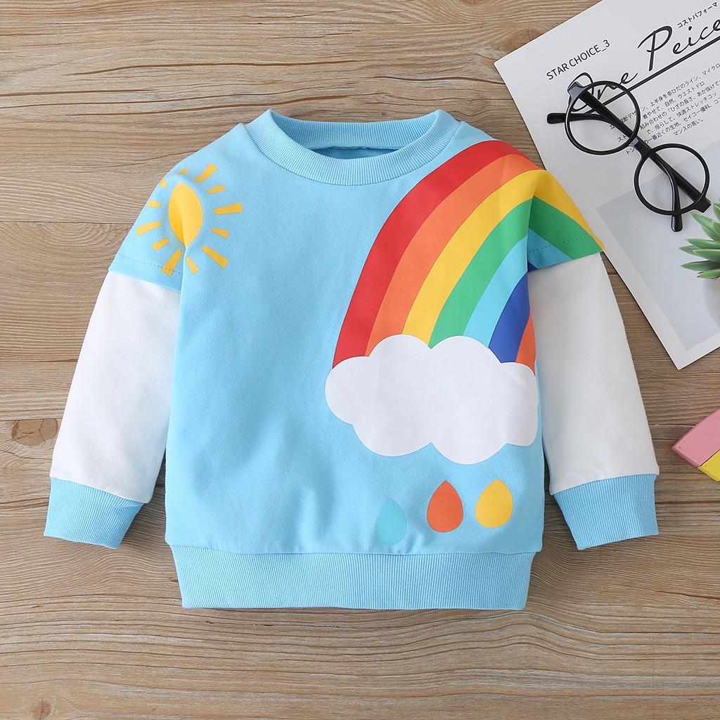 clothes Toddler Baby Boys Girls Long Sleeve Rainbow Print Sweater Tops Clothes children's sweatshirts толстовка детская худи 3