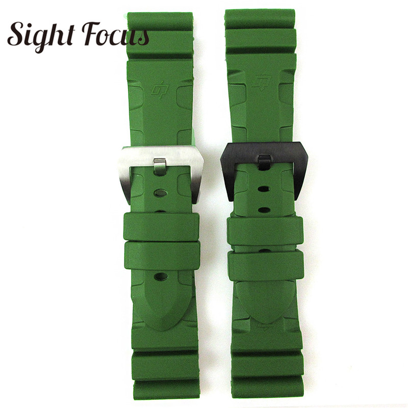 Image 3 - 24mm 26mm Army Green Lighting Watch Band Replacement for Panerai Submersible Radiomir Sport Rubber Strap Bracelets Military Belt-in Watchbands from Watches