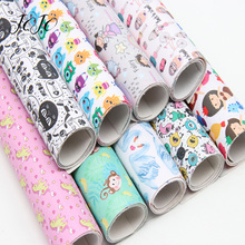 JOJO BOWS 22*30cm 1pc Faux Synthetic Leather Fabric Unicorn Girl Printed Sheet For Needlework Home Textile DIY Hair Bows Crafts jojo bows 22 30cm 1pc synthetic leather fabric for crafts mermaid printed faux sheet for needlework bag apparel sewing materials