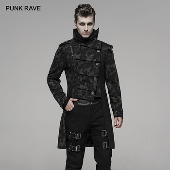 PUNK RAVE Men Punk Handsome Uniforms Fall Winter Coat Fashion Irregular Retro Print Personality Jacket Male Long Windbreaker