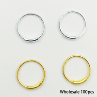 Wholesale 925 Sterling silver nose ring Cartilage Earring Tragus Nose Ring Eyebrow Hoop Piercing 100pcs/lot