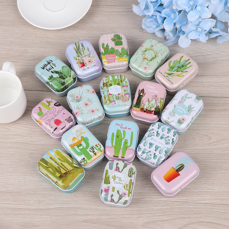 Mini Tin Box Sealed Jar Packing Boxes Jewelry, Candy Box Small Storage Boxes Cans Coin Earrings, Headphones Box Cactus