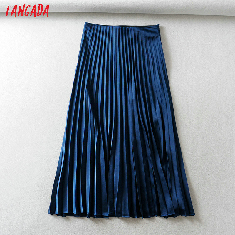 Tangada Women Solid Pleated Midi Skirt Faldas Mujer Vintage Side Zipper Ladies Elegant Chic Mid Calf Skirts 6A270