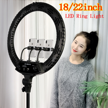 Photo Studio Selfie LED Ring Light 18 22 Lamp Dimmable 3200-5600K 3 Phone Holder with 2M Tripod Stand for Youtube Video Photo spash tl 240s 1 set led video light with tripod stand cri 93 3200k 5600k studio photo lamp led light panel photographic lighting