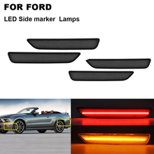 4PCS Smoked Front&Rear LED Side Marker Lights For FORD Mustang 2010 2011 2012 2013 2014 High Fender Light